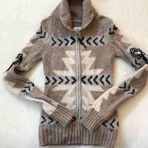 TNA 100% Lambswool Zip Cardigan Sweater